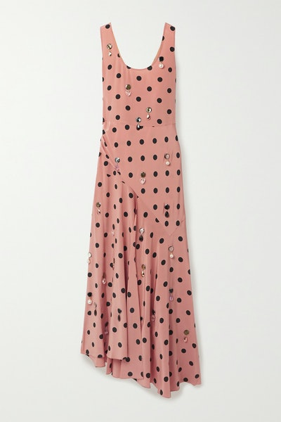 Tory Burch Antique Rose Embellished Draped Polka-Dot Silk-Georgette Maxi Dress