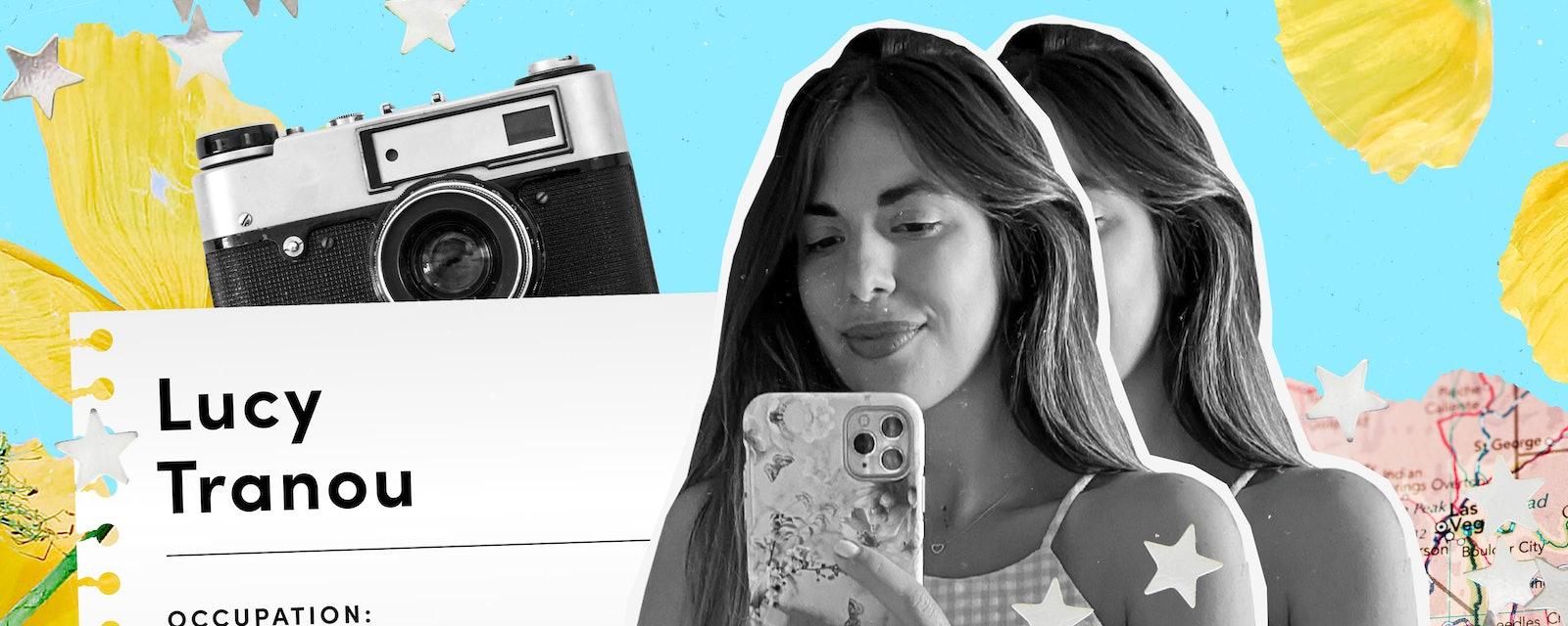 A woman wearing a checkered tank top takes a selfie.