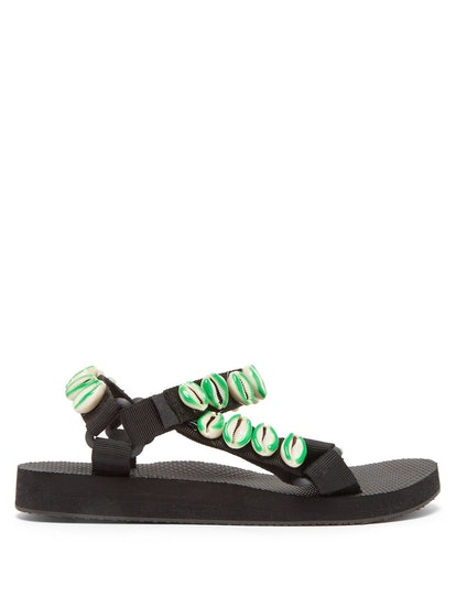 x Timeless Pearly Shell-Embellished Sandals