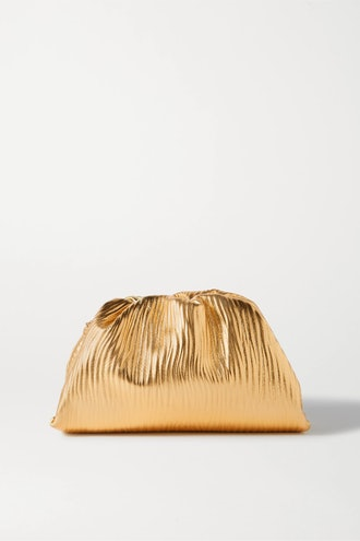 The Pouch small gathered metallic textured-leather clutch