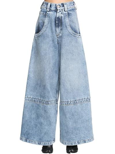 Diane Keaton Wide Leg Cotton Denim Jeans