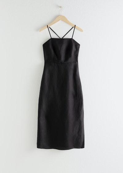 Criss Cross Linen Blend Midi Dress