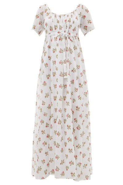 Thierry Colson Plum Floral-Print Cotton-Voile Maxi Dress