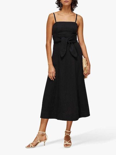 Whistles Linen Tie Belt Midi Dress