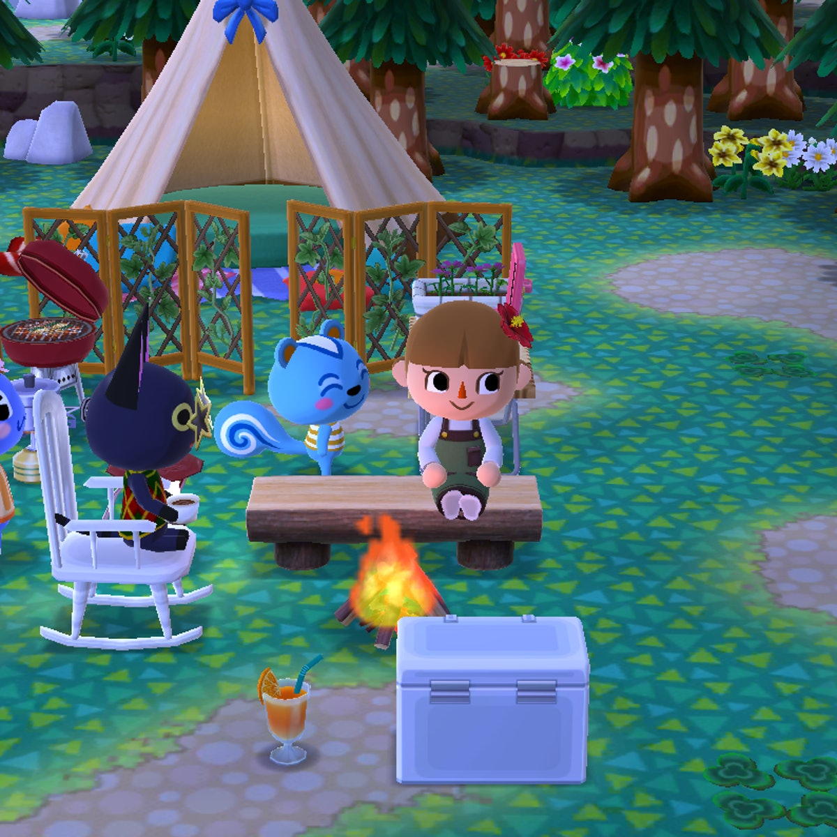 A screenshot of 'Animal Crossing: Pocket Camp' shows a brown-haired girl and two animals sitting next to a fire in her campsite.