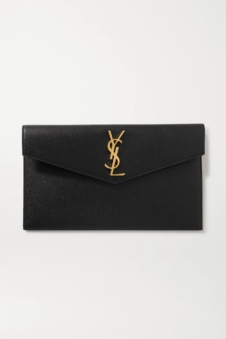Uptown textured-leather pouch