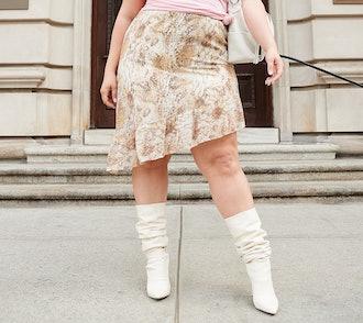 All Worthy Hunter McGrady Snake Print Asymmetrical Hem Skirt