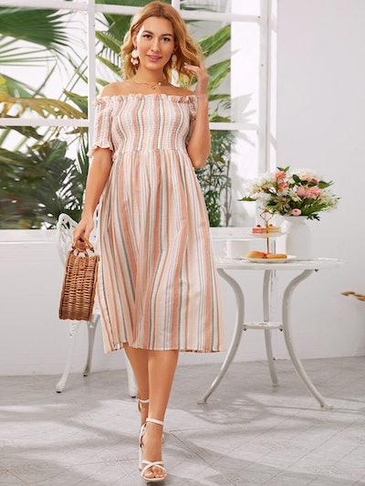 Maternity Off Shoulder Striped Dress