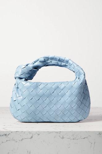 Jodie mini knotted intrecciato textured-leather tote