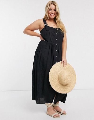 Curve dungaree button through midi sundress in black