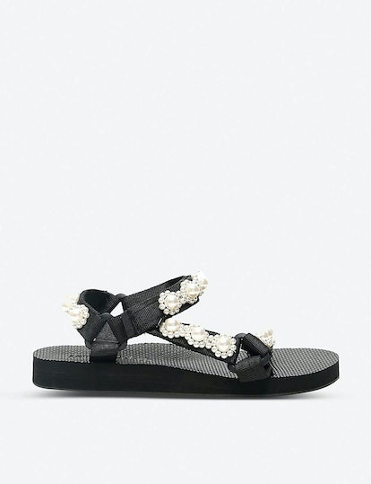 Trekky Chic Faux Pearl-Embellished Woven Sandals