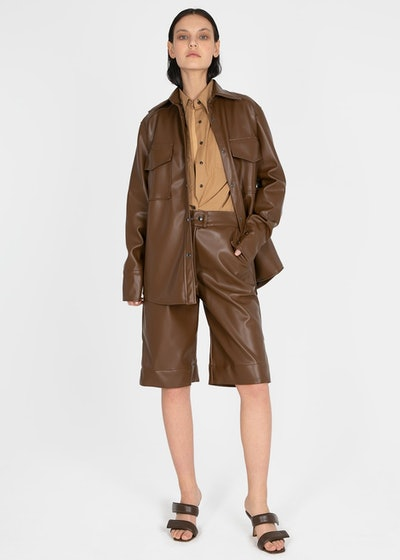 Brown Leather Trouser Shorts