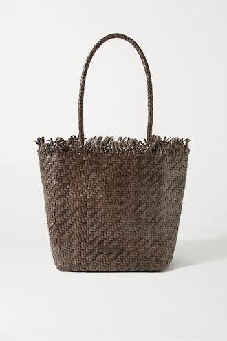 Maya fringed woven leather tote