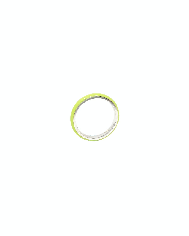 Unicorn Rainbow Thin Enamel Ring in Lime