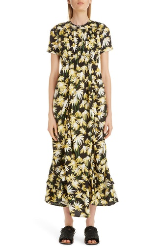 Daisy Print Gathered Cotton Midi Dress