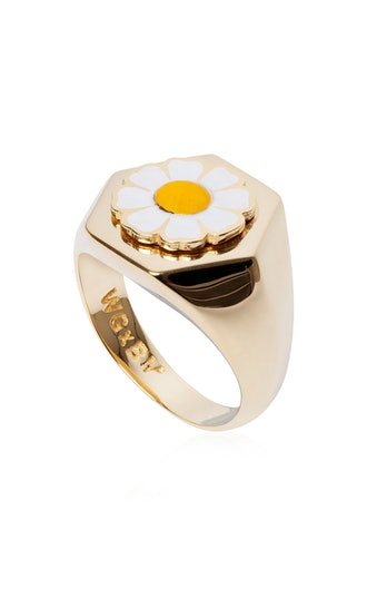 Gold-Plated Daisy Signet Ring