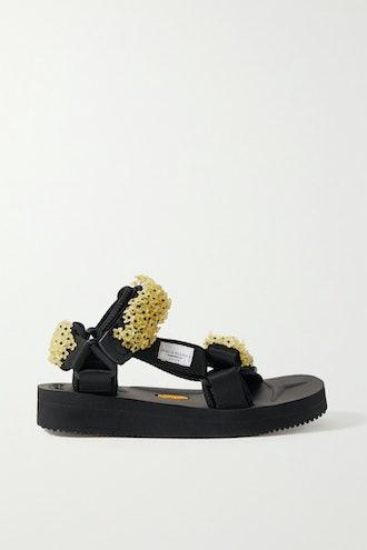 Embellished Canvas Sandals