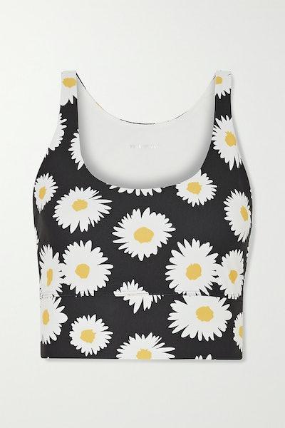 Daisy Floral-Print Stretch Sports Bra