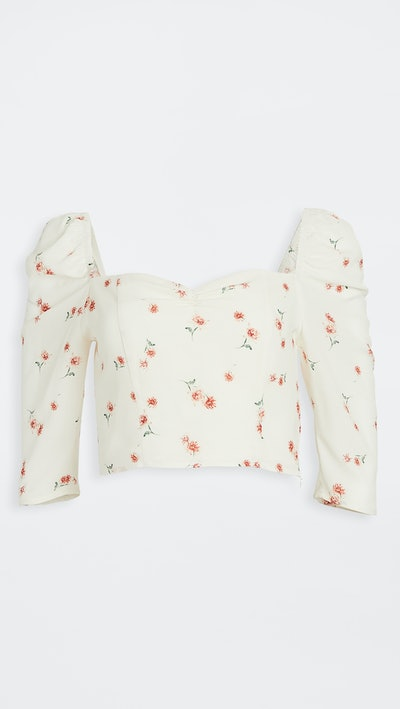 Scattered Daisy Printed Puff Sleeve Top
