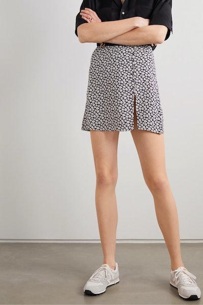 Fran Button-Detailed Floral-Print Crepe Mini Skirt