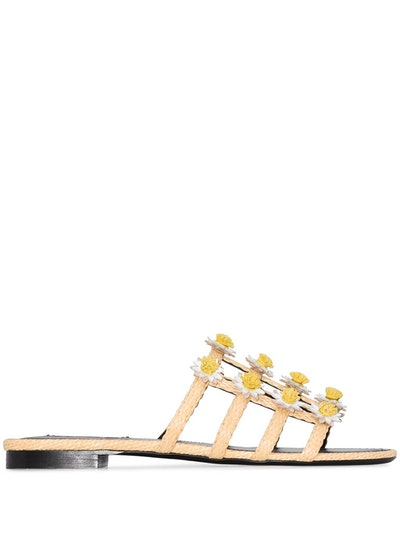 Daisy Floral-Appliqued Raffia Slides