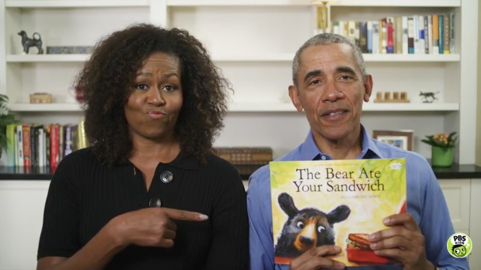 Barack Obama joins his wife for story hour on PBS