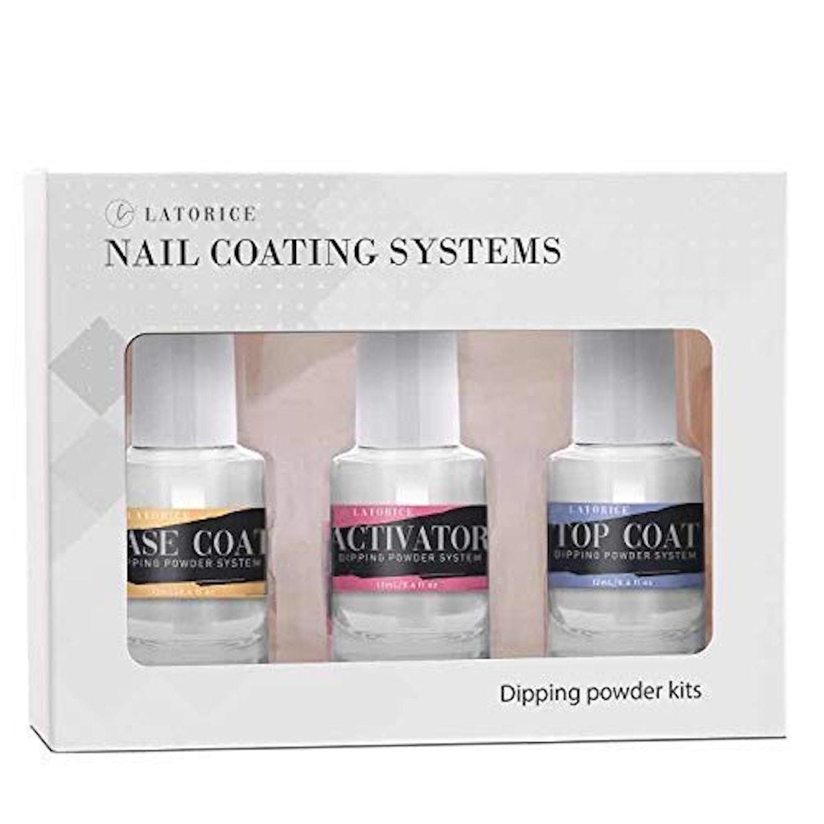 Latorice Dipping Powder Nail Top & Base Coat With Activator Set