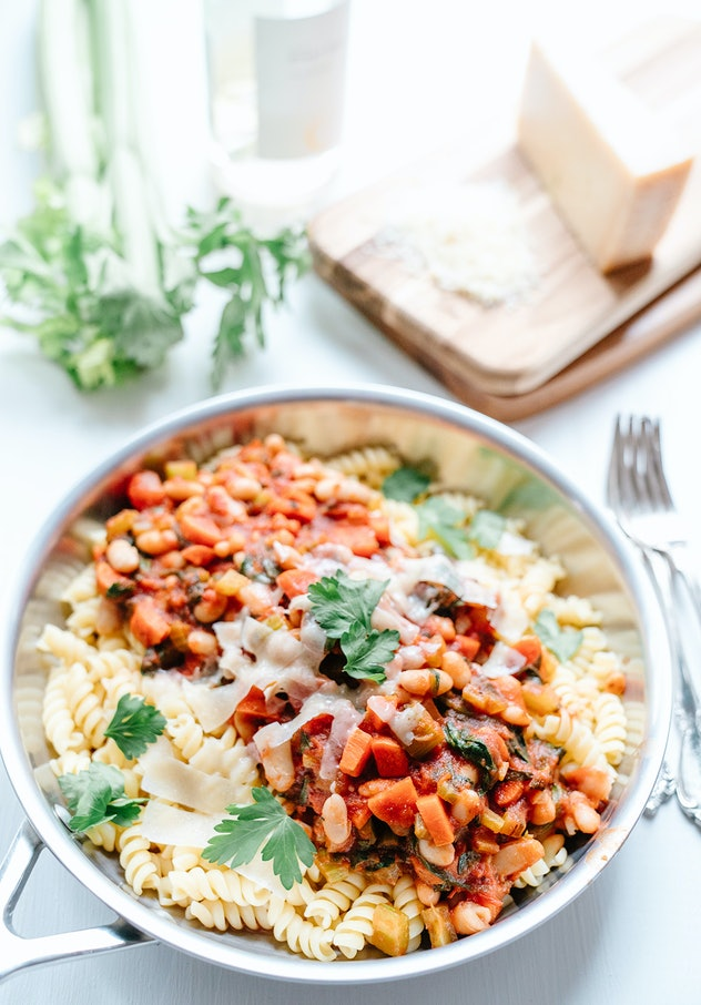 Skillet full of minestrone white bean pasta