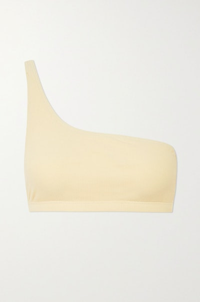 Una One-Shoulder Ribbed Stretch-Organic Cotton Bra