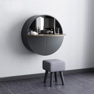 Modern Round Wall-Mount Makeup Vanity Table Set