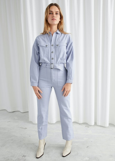Belted Organic Cotton Utility Jumpsuit