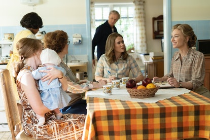 Kayli Carter as Pamela, Melanie Lynskey as Rosemary Thomson, Sarah Paulson as Alice, and Cate Blanchett as Phyllis Schlafly in Mrs America