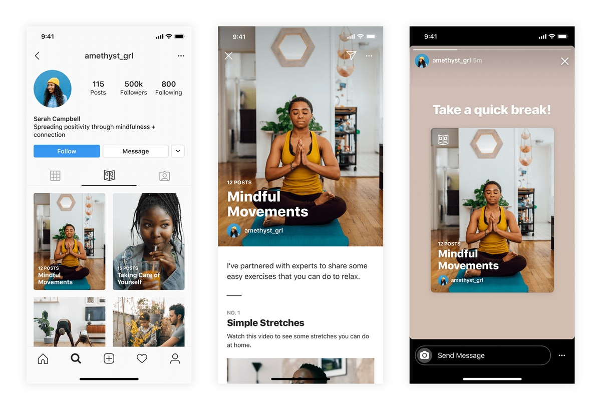 Here's how to use Instagram's new Guides feature to access wellness content.