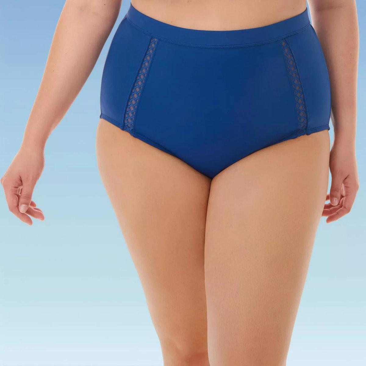 Miracle Brands Women's Plus Size Slimming Control Mesh Inset High Waist Bikini Swim Bottom