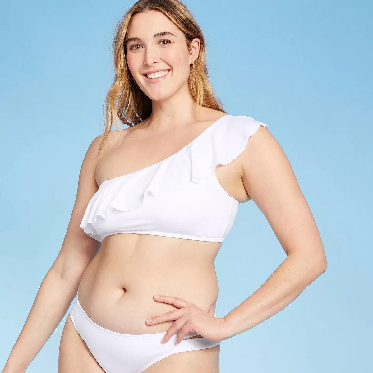 Kona Sol Women's Ruffle One Shoulder Bikini Top