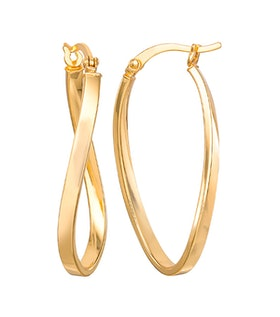 18K Gold Plated Oval Hoop