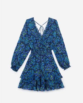 Short Snug-Waisted Floral Formal Dress