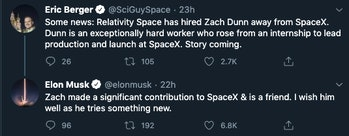 Elon Musk wishing his former employee well.