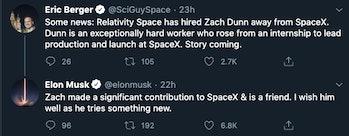 Elon Musk wishing his former employee well.
