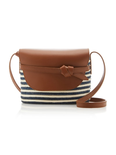 Cesta Collective Striped Leather-Trimmed Sisal Shoulder Bag