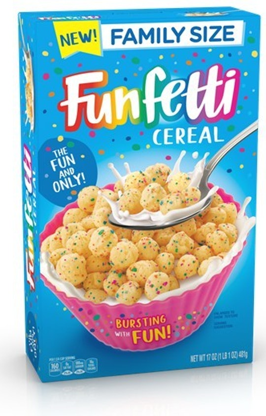 A blue box with funfetti cereal inside.
