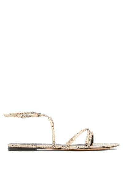 Isabel Marant Apopee Python-Effect Leather Sandals