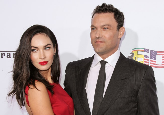 Actors Megan Fox (L) and Brian Austin Green (R) attend Ferrari's 60th Anniversary In The USA Gala at the Wallis Annenberg Center for the Performing Arts on October 11, 2014 in Beverly Hills, California.