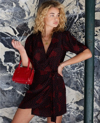 Printed Wrap Dress With Shoulder Pads