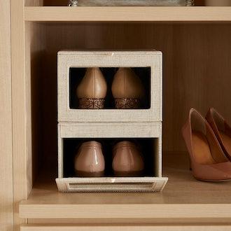 Linen Cambridge Drop-Front Shoe Box