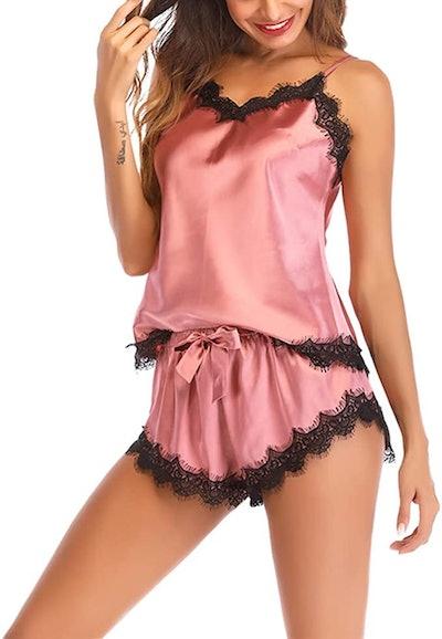 Lu's Chic Women's Satin Pajama Cami Set