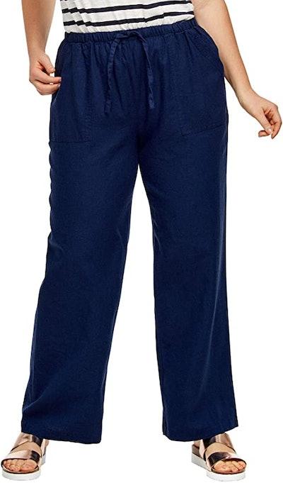 ellos Women's Plus Size Linen Blend Drawstring Pants