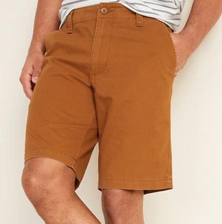 Lived-In Straight Khaki Shorts