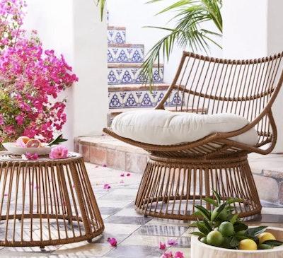 Borealis 2pc Patio Papasan Chair & Ottoman Set