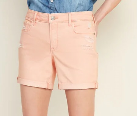 Mid-Rise Distressed Pop-Color Jean Shorts